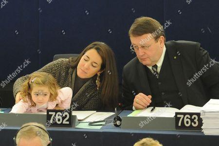 Licia Ronzulli (l) Italian Member of the European Parliament and Her Daughter Vittoria Take Part in a Voting Session in the European Parliament in Strasbourg France 21 November 2012 France Strasbourg