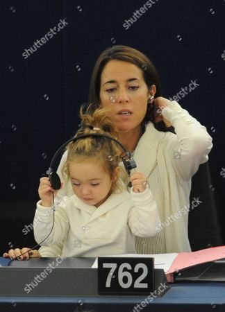 Licia Ronzulli (up C) Italian Member of the European Parliament and Her Daughter Vittoria Take Part in a Voting Session in the European Parliament in Strasbourg France 23 October 2012 France Strasbourg