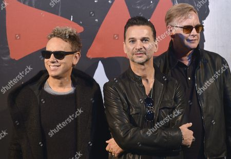 Members of British Band Depeche Mode (l-r) Martin Lee Gore Dave Gahan and Andrew Fletcher Pose During a Photocall Before a Press Conference on Their 2013 European Tour at the Gaite Lyrique Venue in Paris France 23 October 2012 Their New Tour Will Start on 07 May in Tel Aviv Israel France Paris