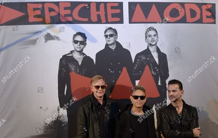 Members of British Band Depeche Mode (l-r) Andrew Fletcher Martin Lee Gore and Dave Gahan Pose During a Photocall Before a Press Conference on Their 2013 European Tour at the Gaite Lyrique Venue in Paris France 23 October 2012 Their New Tour Will Start on 07 May in Tel Aviv Israel France Paris