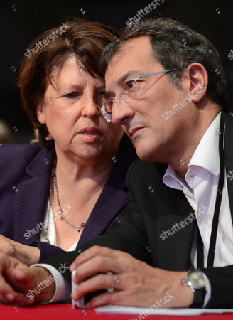 French Former Socialist Party (ps) First Secretary Martine Aubry (l) Speaks to French Minister in Charge of Cities Francois Lamy (r) at the Socialist Party's National Congress in Toulouse France 27 October 2012 the Party Congress Held From 26 to 28 October Elected Harlem Desir As New Party Leader After First Secretary Martine Aubry Announced That She was not Seeking a Second Term France Toulouse
