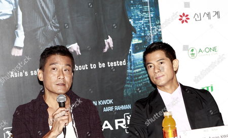 Hong Kong Actors Tony Leung Ka-fai (l) and Aaron Kwok (r) Attend a Press Conference For the Film 'Cold War' at the 17th Busan International Film Festival (biff) Plaza in Busan South Korea 04 October 2012 the Festival Runs From 04 to 13 October 2012 Korea, Republic of Busan