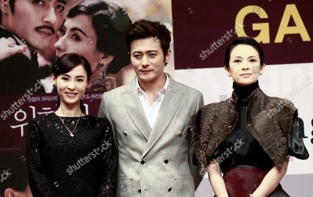 (l-r) Chinese Actress Cecilia Cheung South Korean Actor Jang Dong-gun and Chinese Actress Zhang Ziyi Pose After the Gala Presentation of Their Movie 'Dangerous Liaisons' at the 17th Busan International Film Festival (biff) in Busan South Korea 05 October 2012 the Film Festival Showcasing 307 Movies From 75 Countries Takes Place From 04 to 13 October Korea, Republic of Busan