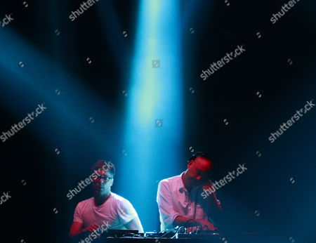 Dj Simon Ratcliffe (l) and Felix Buxton(r) of British Electronic Dance Music Duo Basement Jaxx Perform on Stage During the Supersonic Festival at Olympic Park in Seoul South Korea 14 August 2012 Supersonic Festival Runs From 14 to 15 August Korea, Republic of Seoul