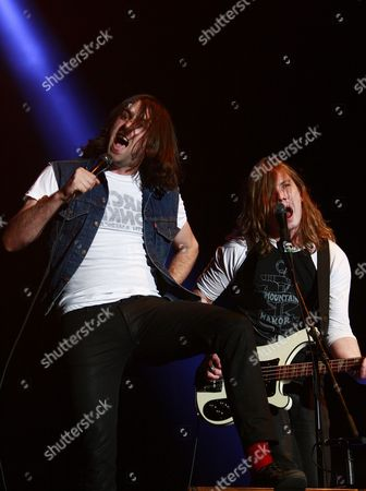 Vocalist and Guitarist Justin Young (l) and Bassist Arni Hjorvar (r) of British Rock Bend the Vaccines Perform on Stage During the Supersonic Festival at Olympic Park in Seoul South Korea 15 August 2012 Korea, Republic of Seoul