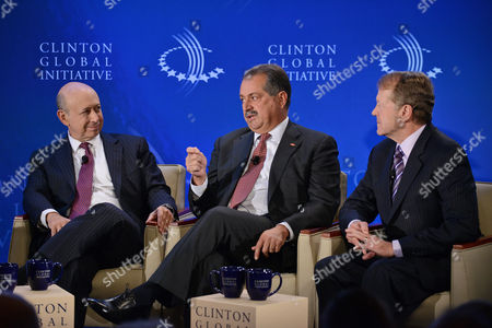 Stock Photo of (l-r) Lloyd C Blankfein Chairman and Ceo of Goldman Sachs Andrew Liveris Chairman and Ceo of the Dow Jones Chemical Company and John Chambers Chairman and Ceo of Cisco Chat with Each Other at the 2012 Clinton Global Initiative Annual Meeting at the Sheraton Hotel in New York New York Usa 24 September 2012 Established in 2005 by Former Us President Bill Clinton Cgi Convenes a Community of Global Leaders to Forge Solutions to the World's Most Pressing Challenges United States New York