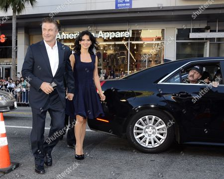 Stock Photo of Us Actor and Cast Member Alec Baldwin (l) and His Wife Hilaria Lynn Thomas (r) Arrive For a Screening of the 'Rise of the Guardians' at Grauman's Chinese Theatre in Hollywood California Usa 04 November 2012 'Rise of the Guardians' is an Animated Adventure Tale of a Group of Heroes Each with Extraordinary Abilities United States Hollywood