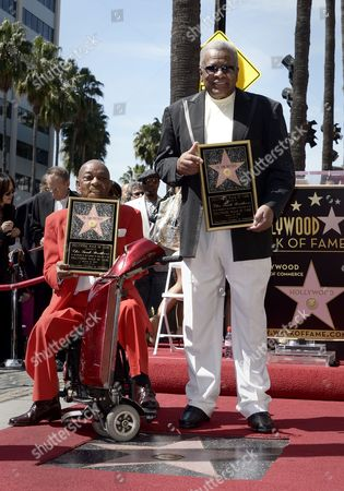 Us Musicians and Members of the Us Group the Funk Brothers Eddie Willis (l) and Jack Ashford (r) Pose with Their Star on the Hollywood Walk of Fame During Their Star Ceremony on the Hollywood Walk of Fame in Hollywood California Usa 21 March 2013 the Funk Brothers Were Awarded the 2 493rd Star on the Hollywood Walk of Fame in the Category of Recording United States Hollywood