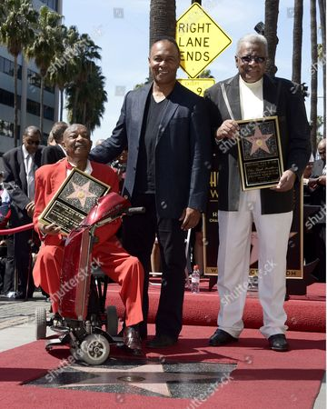 Us Musicians and Members of the Us Group the Funk Brothers Eddie Willis (l) and Jack Ashford (r) Along with Us Recording Artist Ray Parker Jr (c) Pose with the Funk Brothers Star on the Hollywood Walk of Fame During a Ceremony in Hollywood California Usa 21 March 2013 the Funk Brothers Were Awarded the 2 493rd Star on the Hollywood Walk of Fame in the Category of Recording United States Hollywood