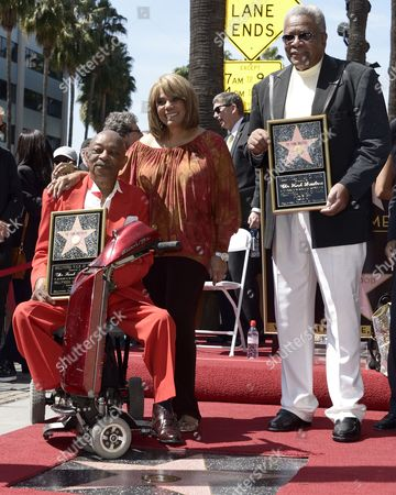 Us Musicians and Members of the Us Group the Funk Brothers Eddie Willis (l) and Jack Ashford (r) Along with Us Singer Claudette Robinson (c) Pose with the Funk Brothers Star on the Hollywood Walk of Fame During a Ceremony in Hollywood California Usa 21 March 2013 the Funk Brothers Were Awarded the 2 493rd Star on the Hollywood Walk of Fame in the Category of Recording United States Hollywood