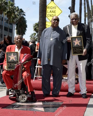 Us Musicians and Members of the Us Group the Funk Brothers Eddie Willis (l) and Jack Ashford (r) Along with Us Recording Artist Stevie Wonder (c) Pose with the Funk Brothers Star on the Hollywood Walk of Fame During a Ceremony in Hollywood California Usa 21 March 2013 the Funk Brothers Were Awarded the 2 493rd Star on the Hollywood Walk of Fame in the Category of Recording United States Hollywood