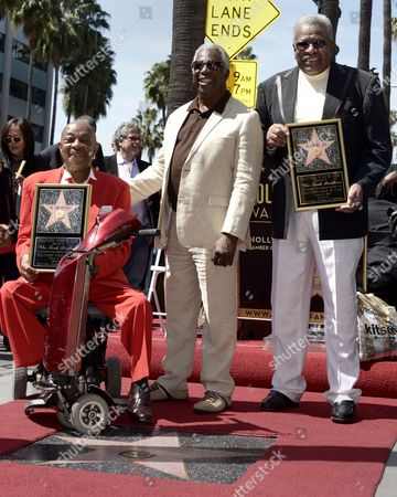 Us Musicians and Members of the Us Group the Funk Brothers Eddie Willis (l) and Jack Ashford (r) Along with Motown Records Mickey Stevenson (c) Pose with the Funk Brothers Star on the Hollywood Walk of Fame During a Ceremony in Hollywood California Usa 21 March 2013 the Funk Brothers Were Awarded the 2 493rd Star on the Hollywood Walk of Fame in the Category of Recording United States Hollywood