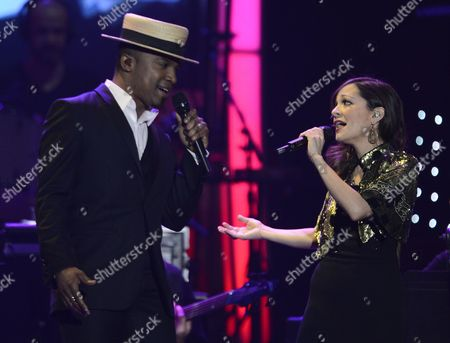 Brazilian Singer Alexandre Pires (l) and Mexican Pop-rock Singer Natalia Lafourcade (r) Preform at the Xiii Annual Latin Grammy Person of the Year Tribute at the Mgm Grand Hotel and Casino in Las Vegas Nevada Usa 14 November 2012 Brazilian Singer Caetano Veloso is Receiving the Person of the Year Tribute United States Las Vegas