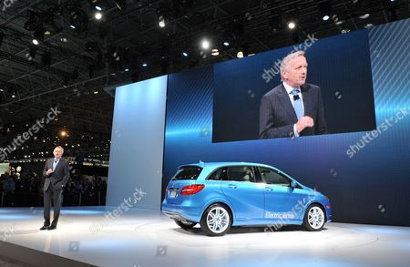 Stock Image of Dr Joachim Schmidt Executive Vice President of Mercedes-benz Cars Sales & Marketing Introduces the New B-class Electric Drive to the Media at the 2013 New York Auto Show at the Javits Center in New York New York Usa 27 March 2013 the New York International Auto Show Runs 29 March - 07 April 2013 United States New York