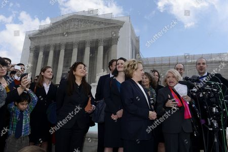 Plaintiff Edith Windsor (2-r) Delivers Remarks to Members of the News Media Beside Members of Her Legal Team Outside the Us Supreme Court After the High Court Heard Oral Arguments in the Case Challenging the Defense of Marriage Act (doma) in Washington Dc Usa 27 March 2013 Doma is a 1996 Law That Defines Marriage As Heterosexual and Denies Some Federal Benefits to Gay Couples United States Washington