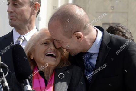 Plaintiff Edith Windsor (front L) Smiles with American Civil Liberties Union (aclu) Executive Director Anthony Romero (r) Outside the Us Supreme Court After the High Court Heard Oral Arguments in the Case Challenging the Defense of Marriage Act (doma) in Washington Dc Usa 27 March 2013 Doma is a 1996 Law That Defines Marriage As Heterosexual and Denies Some Federal Benefits to Gay Couples in This Picture Edith Windsor Wears a Pin That Symbolizes Her Marriage to Her Late Partner United States Washington