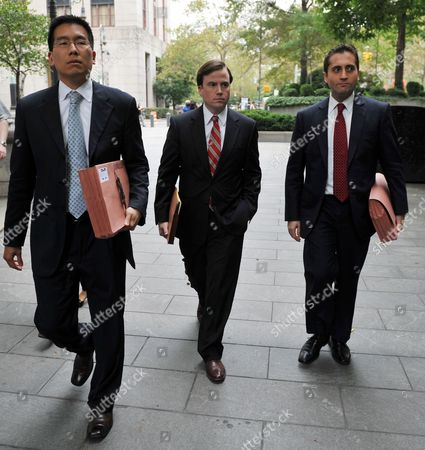 Assistant Us Attorneys Edward Kim (l) Sean Buckley (c) and John Cronan (r) Leave Federal Court on 06 October 2012 in New York After Terror Suspect Radical Islamist Preacher Abu Hamza Al-masri Appeared Before Us Judge Frank Maas After Being Extradited From Britain a Department of Justice Statement Said Hamza Would Face Terrorism Charges Over a Kidnapping in 1998 in Yemen the Establishment of a Terrorist Training Camp in the United States and For 'Facilitating Violent Jihad in Afghanistan ' Hamza is Charged with Two Other Suspects Khaled Al-fawwaz and Adel Abdul Bary United States New York