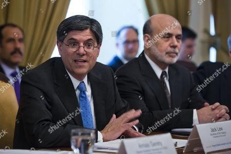Less Than an Hour After Vice President Biden Swore Him in As the New Secretary of the Treasury Jack Lew (l) Seated Next to Federal Reserve Chairman Ben Bernanke (r) Chairs the Financial Stability Oversight Council (fsoc) Meeting at the Treasury Department in Washington Dc Usa 28 February 2013 Lew Replaces Former Treasury Secretary Timothy Geithner United States Washington