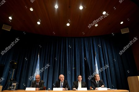 Jose Beraun Deputy Minister For Foreign Affairs of Peru Hector Marcos Timerman Minister For Foreign Affairs of Argentina Bruno Rodríguez Parrilla Minister For Foreign Affairs of Cuba Luis Almagro Minister For Foreign Affairs of Uruguay Speak to Media on the Falkland Islands at United Nations Headquarters in New York New York Usa 07 March 2013 United States New York