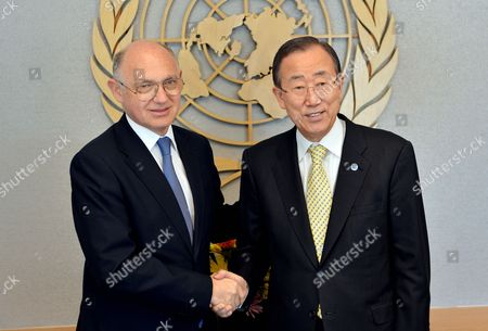 Hector Marcos Timerman (l) Foreign Minister of Argentina Shakes Hands with United Nations Secretary-general Ban Ki-moon at United Nations Headquarters in New York New York Usa 22 October 2012 Timerman Held Meetings at the Un Today in Response to the Holding of the Argentinian Naval Ship the Libertad in Ghana After a New York Hedge Fund Manager Persuaded a Judge in That Country to Seize the Ship in an Effort to Force Argentina to Pay Unpaid Debts United States New York