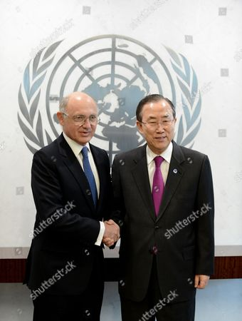 Hector Marcos Timerman (l) Minister For Foreign Affairs of Argentina and United Nations Secretary-general Ban Ki-moon (r) Pose For Photos Prior to a Meeting at United Nations Headquarters in New York New York Usa 26 March 2013 United States New York