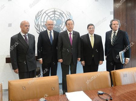 (l-r) Jose Beraun Deputy Minister For Foreign Affairs of Peru Hector Marcos Timerman Minister For Foreign Affairs of Argentina United Nations Secretary-general Ban Ki-moon Bruno Rodriguez Parrilla Minister For Foreign Affairs of Cuba Luis Almagro Minister For Foreign Affairs of Uruguay Pose For Photos Prior to a Meeting at United Nations Headquarters in New York New York Usa 26 March 2013 United States New York