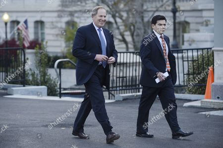 David Cote (l) Chairman and Ceo of Honeywell Walks out of the Oval Office with an Unidentified White House Staff Member Following a Meeting Between Prominent Business Leaders and Us President Barack Obama at the White House in Washington Dc Usa 14 November 2012 President Obama Met with Prominent Business Leaders to Discuss Ideas on Way to Improve the Economy United States Washington