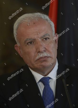 Riyad Al-maliki Foreign Minister of the Palestinian National Authority is Seen During the Joint News Conference with His Czech Counterpart Karel Schwarzenberg (unseen) at the Cernin Palace in Prague Czech Republic 02 April 2013 Riyad Al-malik is on a One-day Working Visit to the Czech Republic Czech Republic Prague