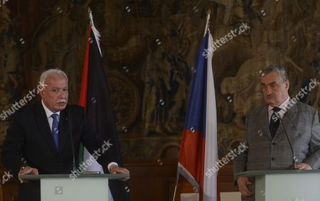 Riyad Al-maliki Foreign Minister of the Palestinian National Authorityand His Czech Counterpart Karel Schwarzenberg (r) Are Seen After a Joint News Conference at the Cernin Palace in Prague Czech Republic 02 April 2013 Riyad Al-malik is on a One-day Working Visit to the Czech Republic Czech Republic Prague