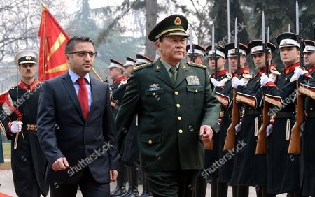 Stock Picture of Chinese Minister For National Defense General Liang Guanglie (r) Accompanied by Macedonian Defense Minister Fatmir Besimi Inspects the Honour Guard in Skopje the Former Yugoslav Republic of Macedonia 11 January 2013 Liang Guanglie Arrived For a Two-day Official Visit to Macedonia Macedonia, the Former Yugoslav Republic of Skopje