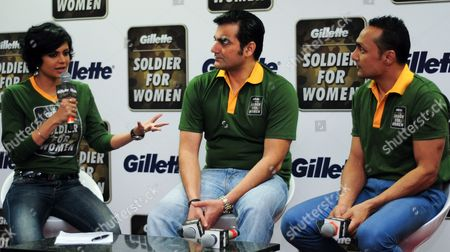 Bollywood Actress and Television Presenter Mandira Bedi (l) and Bollywood Actors Arbaaz Khan (c) and Rahul Bose (r) Talk During a Panel Discussion at a 'Soldier For Women' Campaign Event in the Southern Indian City of Bangalore 05 March 2013 the Nation-wide Campaign 'Soldier For Women' Initiated by Men's Personal Care Brand Gillette India Encourages Men to Stand Up For Women in the Wake of the Recent Public Uproar About Crimes Against Women in the Country India Bangalore