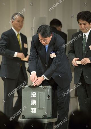 Newly Appointed President of the Democratic Party of Japan Banri Kaieda Casts His Ballot at the Party's Presidential Election in Tokyo Japan 25 December 2012 Premier Yoshihiko Noda Earlier Announced He Would Resign As Leader of the Democratic Party of Japan (dpj) After a Smashing Loss in Parliamentary Elections December 16 Banri Kaieda 63 Beat Contender Sumio Mabuchi in the Party Presidential Election December 25 to Replace Noda Japan Tokyo