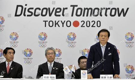 Tokyo Governor Naoki Inose (r) Stands As Japanese Olympic Committee (joc) President Tsunekazu Takeda (c) and Education Sports and Culture Minister Hakubun Shimomura (l) Looks on During a Press Conference Unveiling the Tokyo Candidature File For the 2020 Olympic and Paralympic Games in Tokyo Japan 08 January 2013 the International Olympic Committee (ioc) Will Elect the Host City Between Istanbul Tokyo and Madrid For the 2020 Summer Olympics on 07 September 2013 Japan Tokyo