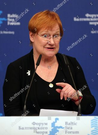Former President of Finland Tarja Halonen Speaks at the Plenary Session of the Heads of the Baltic Sea States on Environmental Protection During the Baltic Sea Forum in St Petersburg Russia 05 April 2013 Russian Federation St.petersburg