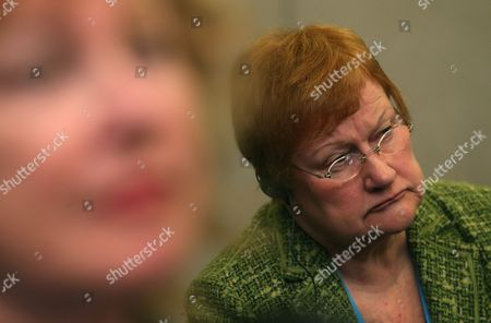 Former President of Finland Tarja Halonen Attends During a Round Table ' Maritime Spatial Planning As a For the Integrated Coastal Areas Management For the Protection of the Environment and Rational Use of Natural Resources' at the Baltic Sea Forum in St Petersburg Russia 06 April 2013 Russian Federation St.petersburg