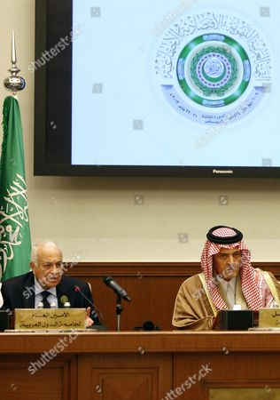 Saudi Foreign Minister Prince Saud Al-faisal (r) and Arab's League Secretary General Nabil Alaraby Attend the Social Development Summit in Riyadh Saudi Arabia 22 January 2013 Arab Leaders Opened a Summit in Riyadh on 21 January Evening That was Set to Focus on Raising Trade and Investment and Address Recent Social and Political Upheaval Across the Region the Two-day Arab Economic Social Development Summit was Also to Debate New Rail Links Measures Toward Creating a Customs Union by 2015 and Ways to Combat Unemployment in the Arab World Saudi Arabia Riyadh