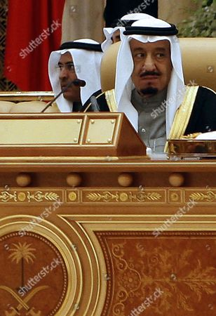 Saudi Arabia's Crown Prince Salman Bin Abdul Aziz Al-saud (r) Attends the Opening of the Arab Economic Social Development Summit in Riyadh Saudi Arabia 21 January 2013 Arab Leaders Opened a Summit in Riyadh on 21 January Evening That was Set to Focus on Raising Trade and Investment and Address Recent Social and Political Upheaval Across the Region the Two-day Arab Economic Social Development Summit was Also to Debate New Rail Links Measures Toward Creating a Customs Union by 2015 and Ways to Combat Unemployment in the Arab World Saudi Arabia Riyadh