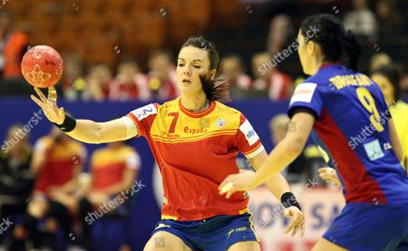Beatriz Fernandez Ibanez (l) of Spain in Action Against Aurelia Bradeanu (r) of Romania During Their Main Round Group Ll Match of the Women's Handball European Championship in Novi Sad Serbia 09 December 2012 Serbia Novi Sad