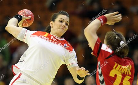Beatriz Fernandez Ibanez (l) of Spain in Action Against Suzana Lazovic (r) of Montenegro During Their Main Round Group Ll Match at the Women Handball European Championship in Novi Sad Serbia 13 December 2012 Serbia Novi Sad