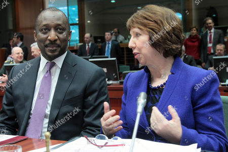 Mali's Foreign Minister Tieman Coulibaly (l) Sits Together with the European Union High Representative For Foreign Affairs Catherine Ashton (r) at the Start of a Special European Foreign Ministers' Council Meeting to Discuss the Mali Crisis at the Eu Headquarters in Brussels Belgium 17 January 2013 European Union Foreign Ministers Have Approved a Mission to Train Military Forces in Mali the Ministers Were Also Expected to Call on the Malian Authorities to Pursue a Political Solution Belgium Brussels
