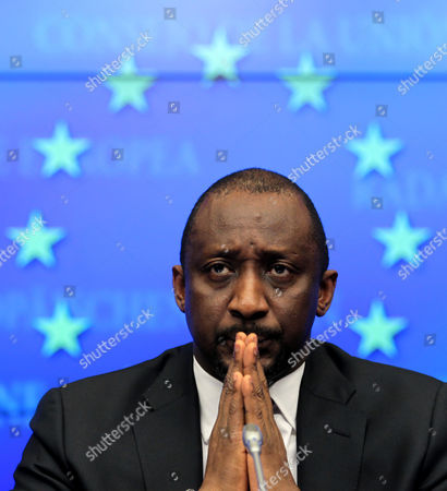 Mali's Foreign Minister Tieman Coulibaly Looks on During a Press Briefing After a Meeting with European Foreign Ministers Council on Mali Crisis at the Eu Headquarters in Brussels Belgium 17 January 2013 European Union Foreign Ministers on 17 January Approved a Mission to Train Military Forces in Mali to Be Launched by Mid-february at the Latest Although It Remained Unclear when Trainers Would Be Present on the Ground Belgium Brussels