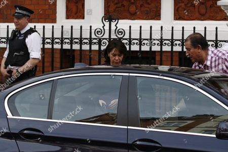 The Ecuadorian Ambassador to London Ana Alban Leaves Her Embassy in London Britain 16 August 2012 where Wikileaks Foundeer Julien Assange Has Sought Political Asylum in June to Avoid Extradition to Sweden the Ecuadorian Government Has Decided to Grant Julian Assange Asylum Foreign Minister Ricardo Patino Said in Quito 16 August United Kingdom London