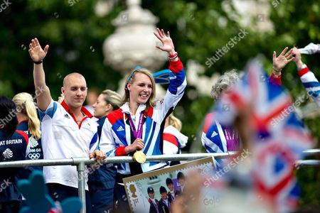 Sophie Christiansen (c) Salutes the Crowd As Thousands of Londoners Turn out to Cheer on Olympic and Paralympic Athletes As They Travel on Floats During 'Our Greatest Team' Parade in Central London Britain 10 September 2012 Christiansen Won the Gold Medal in the Equestrian Dressage Individual Freestyle Test Grade 1a Event During the London 2012 Paralympic Games Britain Finished Third in Both the Olympic and Paralympic Standings United Kingdom London
