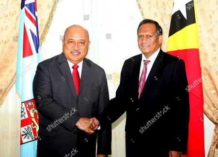East Timorese Foreign Minister Jose Luis Guterres (r) Greets His Fiji Counterpart Inoke Kubuabola During an Arrival Cremony in Dili East Timor Known Also As Timor-leste 17 January 2013 Kubuabola is Visiting East Timor to Strengthen Bilateral Relations Between the Two Countries East Timor Dili