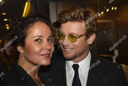 Australian Actor Simon Baker (r) and His Wife Rebecca Rigg (l) Arrive For the Premiere of 'I Give It a Year' at the Ugc Normandie Theater in Paris France 08 April 2013 the Movie Will Be Released in France on 10 April France Paris