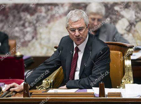 Stock Image of French Parliament President Claude Bartelone Presides a Session of the Parliament in Paris France 05 December 2012 France Paris