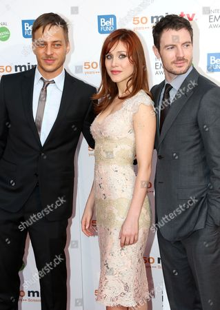German Actor Tom Wlaschiha (l) Italian Actress Gabriella Pession (c) and Actor Richard Flood (r) Arrive For the Miptv 50th Anniversary Opening Gala at the Festival Palace in Cannes France 08 April 2013 the Miptv Which Runs Until 11 April is One of the World's Leading International Trade Events Dedicated to International Television Programs and to Digital Content and Interactive Entertainment For All Platforms France Cannes
