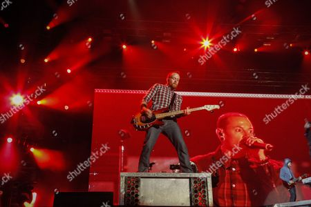 Linkin Park's Bass Guitarist Dave Farrell (c) Performs with the Band in Cape Town South Africa 07 November 2012 This is the First Ever Performance in South Africa For Us Rap-rockers Linkin Park who Perform Two Shows in Cape Town and Johannesburg As Part of Their Living Things World Tour South Africa Cape Town