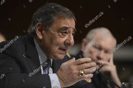 Us Secretary of Defense Leon Panetta (front) and Chairman of the Joint Chiefs of Staff General Martin E Dempsey (back) Testify Before the Senate Armed Services Committee Hearing on the Defense Department's Response to the 11 September 2012 Attack on Us Facilities in Benghazi Libya on Capitol Hill in Washington Dc Usa 07 February 2013 United States Washington