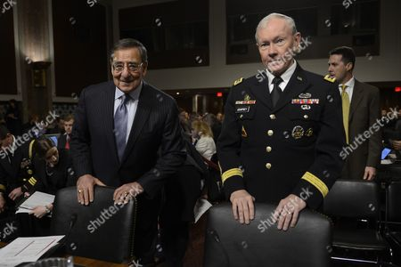 Us Secretary of Defense Leon Panetta (l) and Chairman of the Joint Chiefs of Staff General Martin E Dempsey (r) Take Their Seats to Testify Before a Senate Armed Services Committee Hearing on the Defense Department's Response to the 11 September 2012 Attack on Us Facilities in Benghazi Libya on Capitol Hill in Washington Dc Usa 07 February 2013 United States Washington